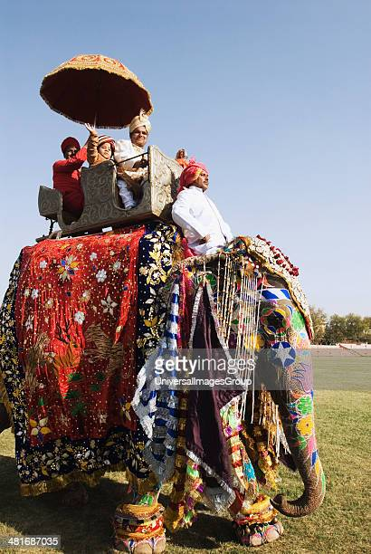 Man in traditional Rajasthani royal dress on an elephant Elephant Festival Jaipur Rajasthan India