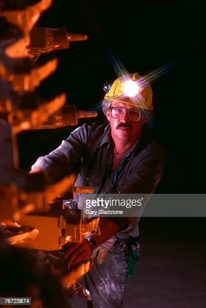 Man in underground potash mine