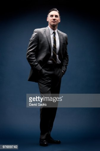 Man in vintage business suit : Stock Photo