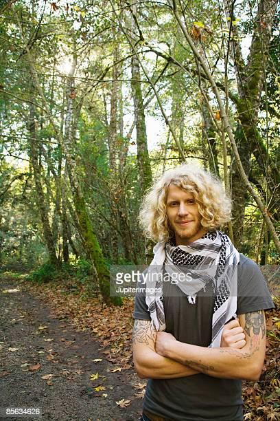 Man in woods , Humboldt , California , USA