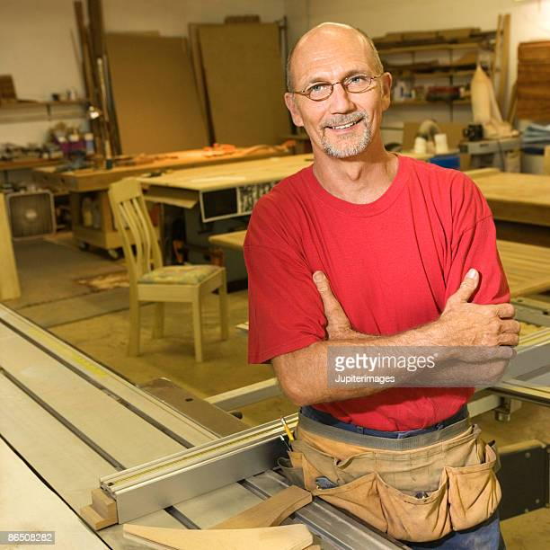 Man in woodshop