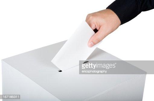 Man inserting a blank vote