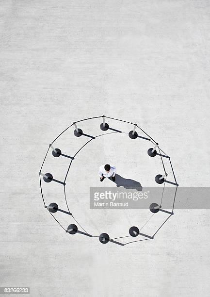 Man inside circle of cordon posts
