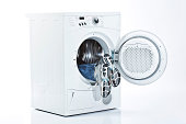 Man inside washing machine