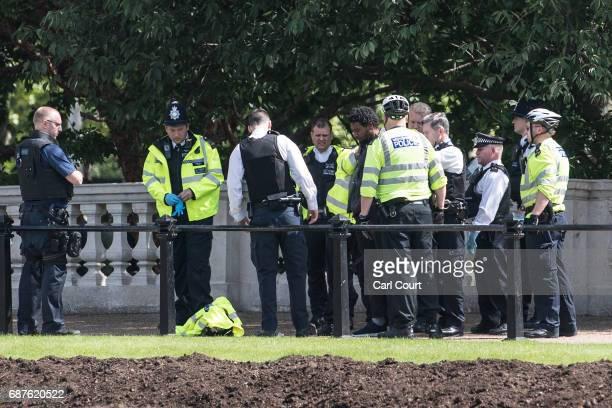 A man is detained by police near Buckingham Palace on May 24 2017 in London United Kingdom The Changing of the Guard ceremony has been cancelled...