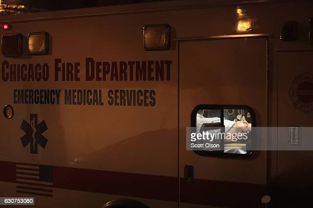 A man is pictured in an ambulance at the scene where two people were reported shot on January 1 2017 in Chicago Illinois Chicago ended 2016 with more...