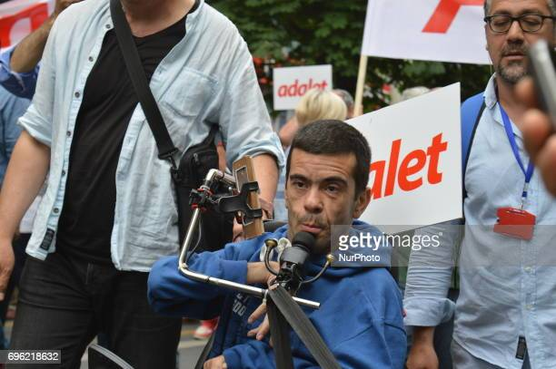 A man is seen during the 'Justice March' to protest against the Turkish government held by the main opposition Republican People's Party in Ankara...