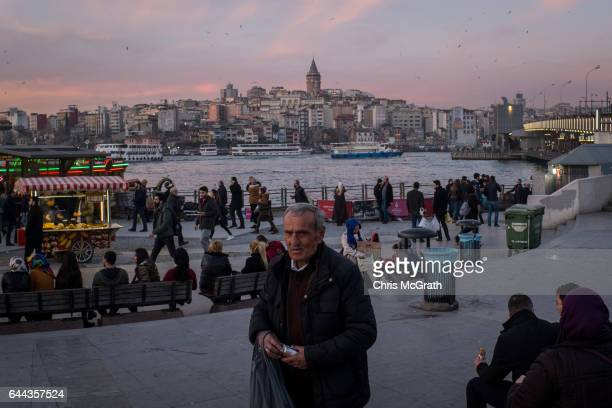 A man is seen selling packets of tissues on February 23 2017 in Istanbul Turkey Turkey will hold its constitutional referendum on April 16 2017 Turks...