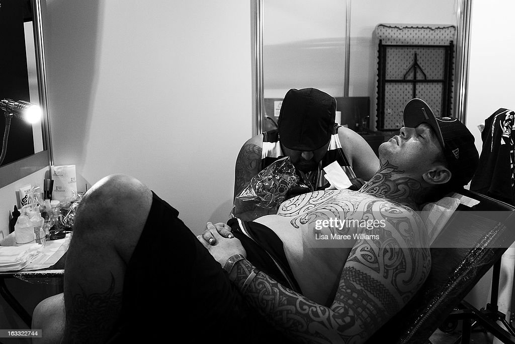 A man is tattooed during The Australian Tattoo & Body Art Expo at the Royal Hall of Industries, Moore Park on March 8, 2013 in Sydney, Australia. The annual three day event showcases some of Australia's best tattoo and body artists and is open to enthusiasts March 8-10.