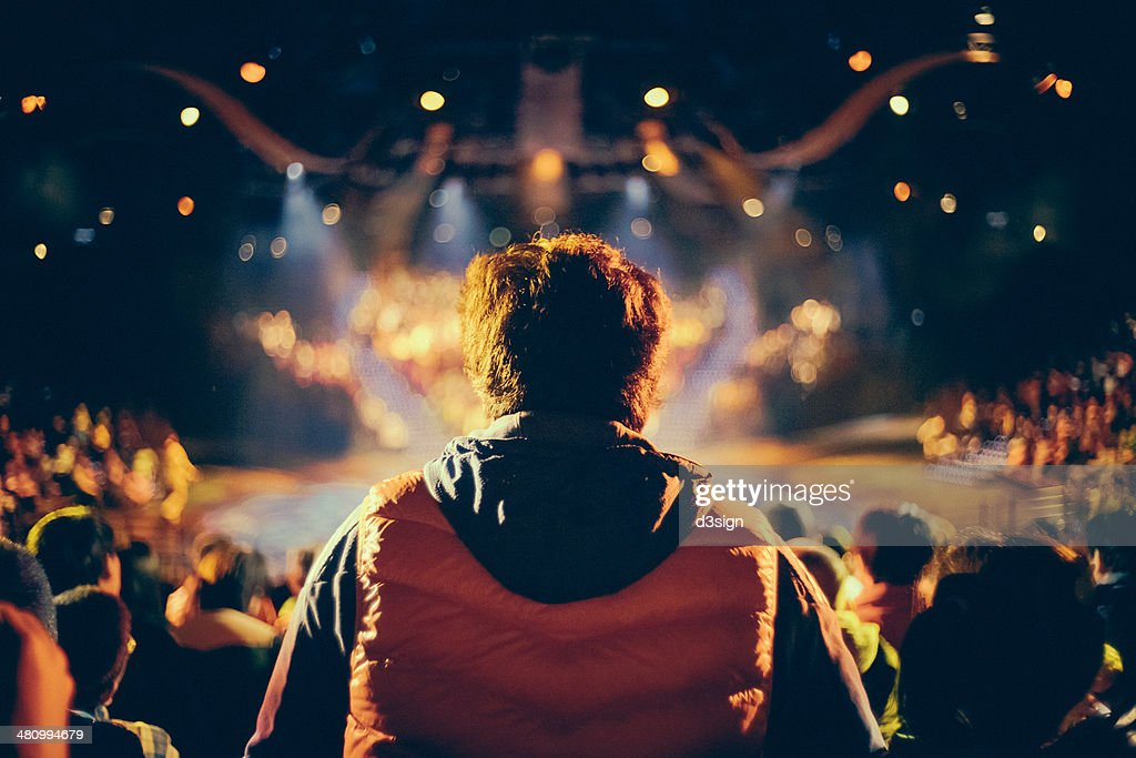 Man is watching a show, view from the crowd