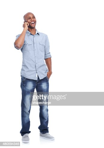 Man, it's great to hear your voice! : Stock Photo