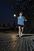 Man jogging at night