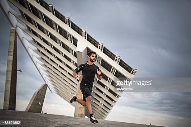 Man jogging on a cloudy day