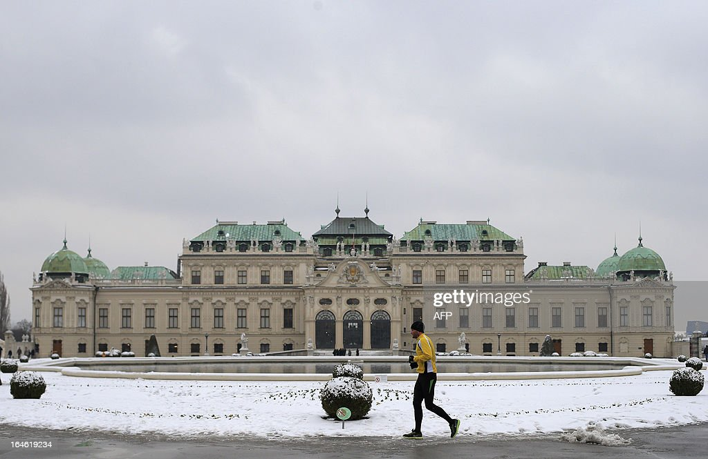 A man joggs in the gardens of the Belvedere Palace, in Vienna on March 25, 2013. AFP PHOTO / ALEXANDER KLEIN