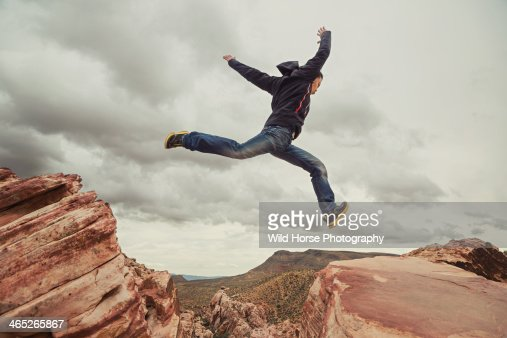 Man jumping in the air at Red Rock Canyon