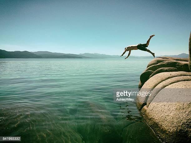 Man jumping into Lake Tahoe, California