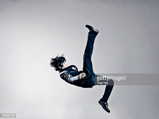 Man jumping, side view