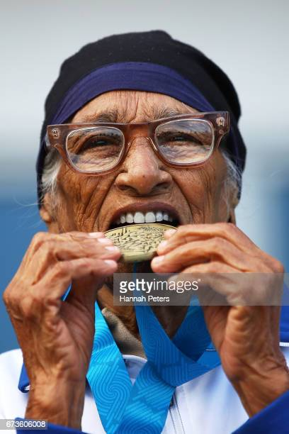 Man Kaur of India celebrates after winning the 85yearolds age group Javelin event in the World Masters Games at Waitakere Stadium on April 27 2017 in...