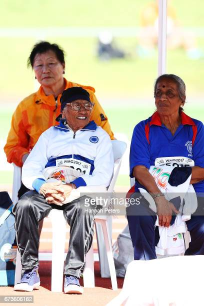 Man Kaur of India competes in the 85yearolds age group Javelin event in the World Masters Games at Waitakere Stadium on April 27 2017 in Auckland New...