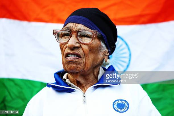 Man Kaur of India looks on after winning the 85yearolds age group Javelin event in the World Masters Games at Waitakere Stadium on April 27 2017 in...