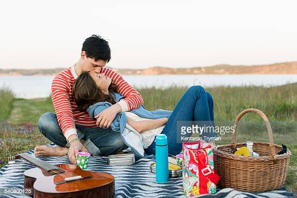 Man kissing girlfriend during picnic