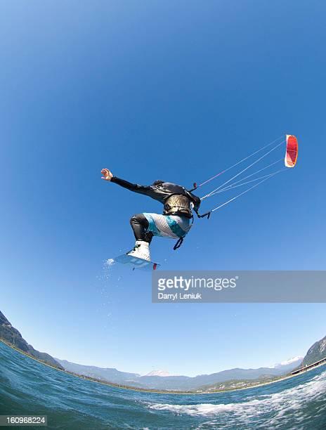 A man kiteboarding