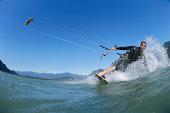 Man kiteboarding (fish eye)
