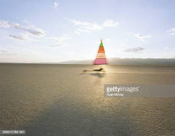 Homme navigation de plaisance dans la terre du désert, vue latérale, Nevada, États-Unis