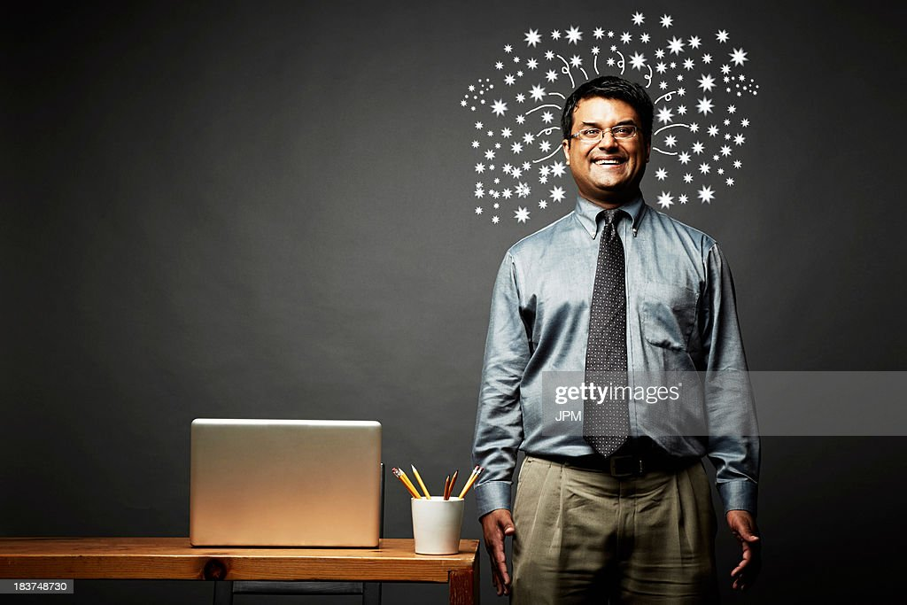 Man laughing with explosive ideas