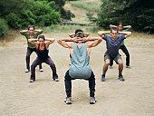 Bootcamp exercises, Malibu Creek State Park, Calabasas, California, USA