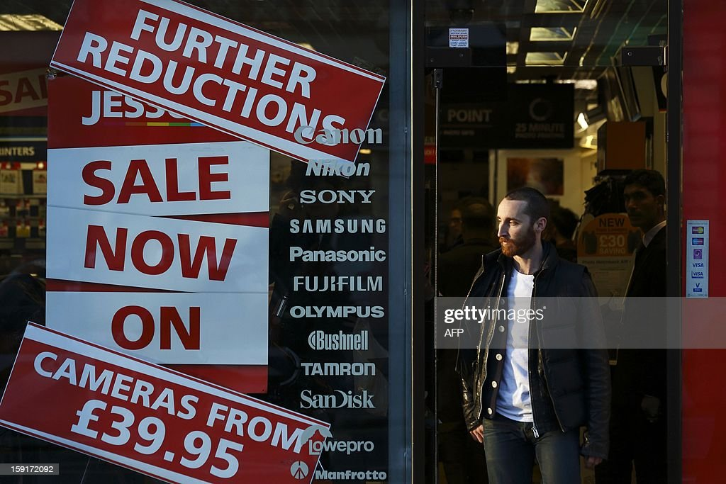 A man leaves a branch of Jessops camera shop in Central London on January 9, 2013. British photographic chain Jessops went into adminstration on January 9, 2013, putting some 2,000 jobs at risk.
