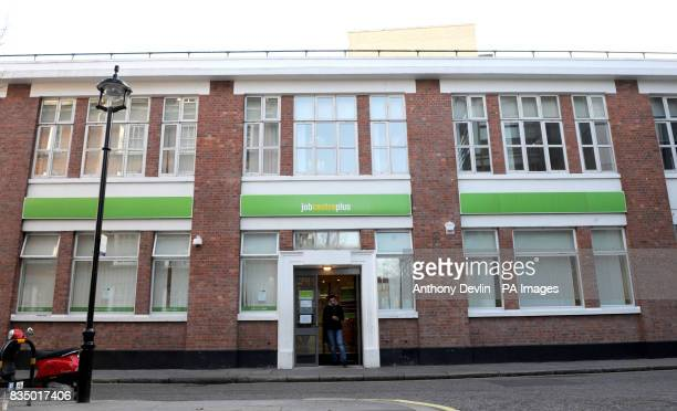 A man leaves a Job Centre Plus in Westminster London as record numbers of people are being made redundant and job vacancies are falling as...