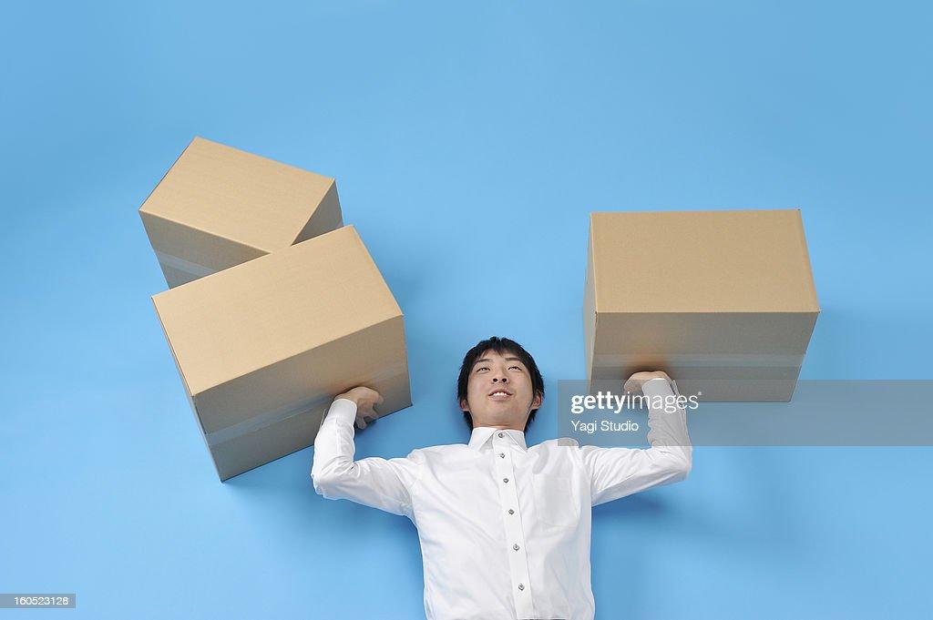 Man lift the luggage : Stock Photo