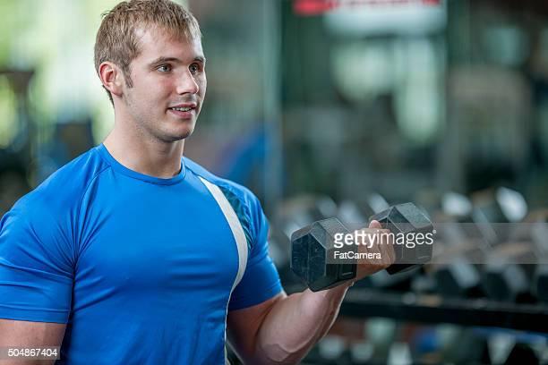 Man Lifting Free Weights