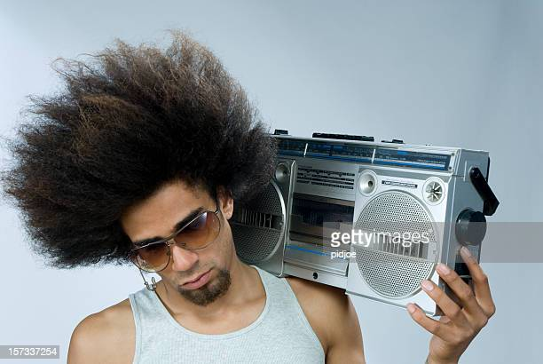 man listening to funky music