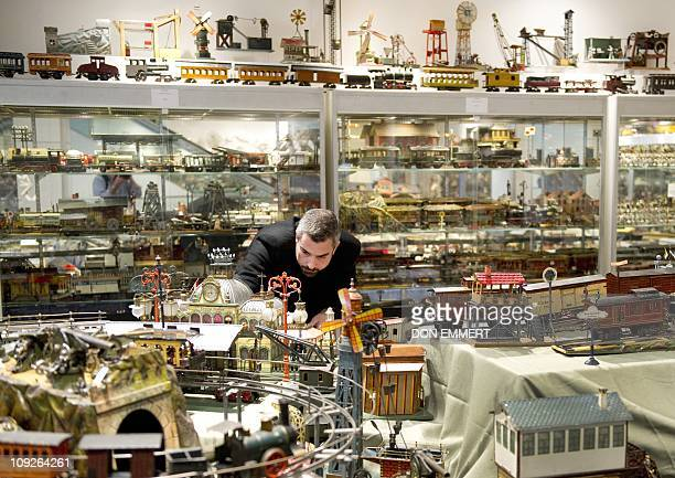 A man look at part of The Jerni Collection of Toys and Toy Trains February 17 2011 at Sotheby's in New York The group of toys is called the largest...