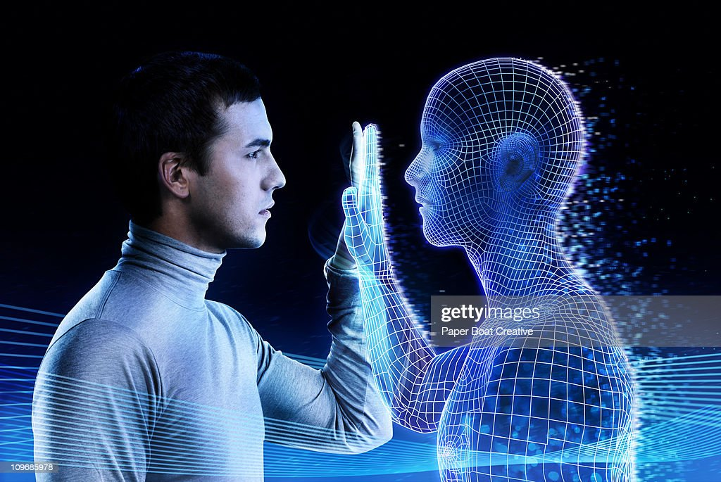 Man looking at a computer generated mirror image : Stock Photo