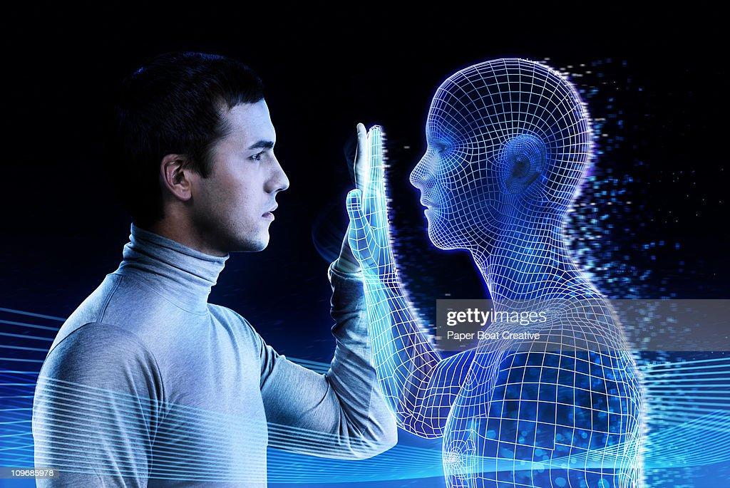 Man looking at a computer generated mirror image
