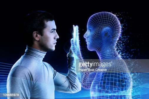 Man looking at a computer generated mirror image : Stock-Foto