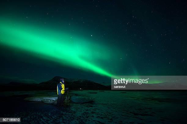 Man looking at Aurora