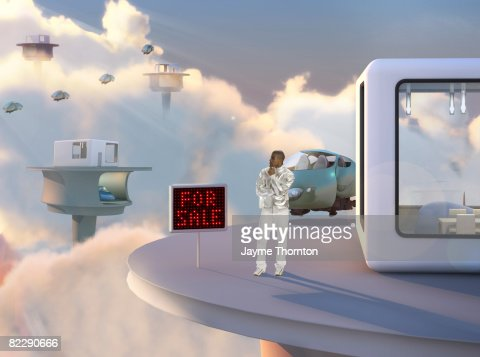 Man Looking At For Sale Outside Future Home Stock Photo ...