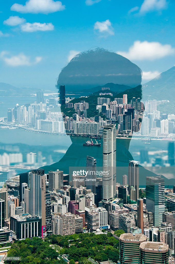 man looking at harbour view in Hong Kong : Stock Photo
