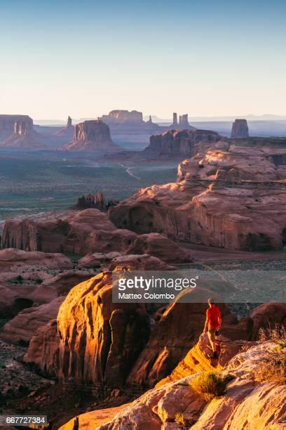 Man looking at the Monument Valley, Arizona, USA