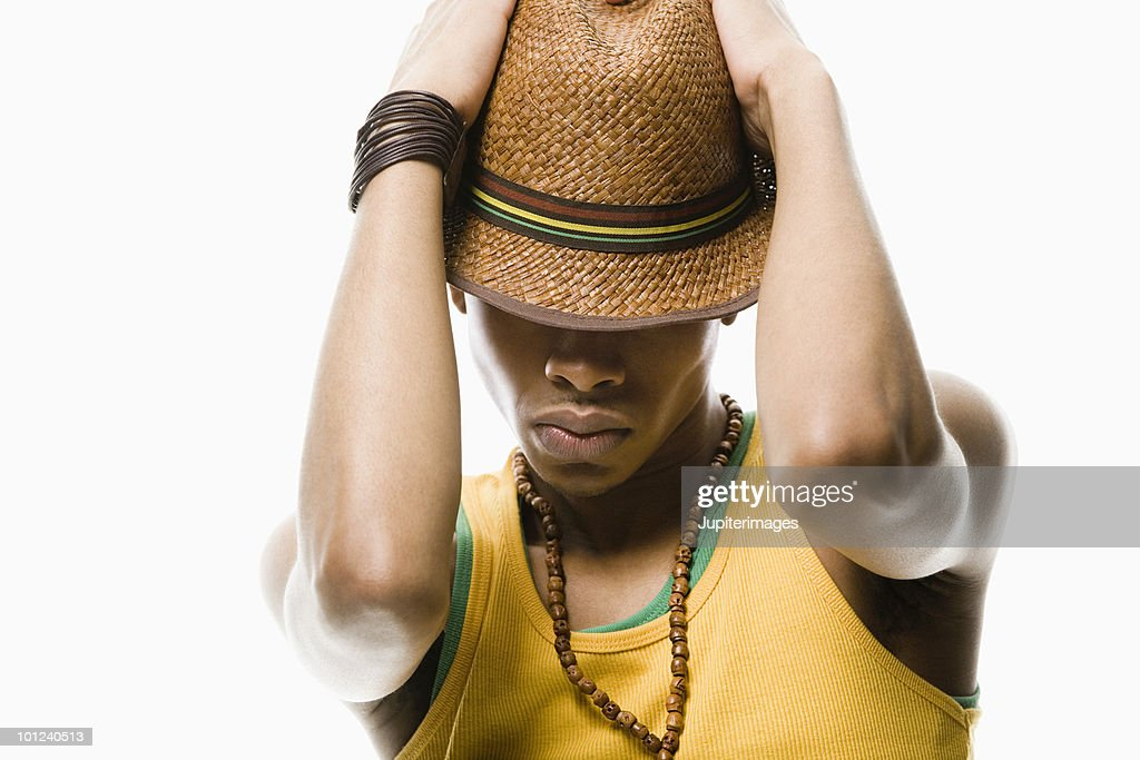 A man looking down : Stock Photo