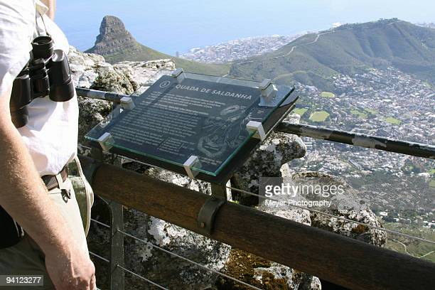 Man looking over Table Mountain, Cape Town, Western Cape Province, South Africa