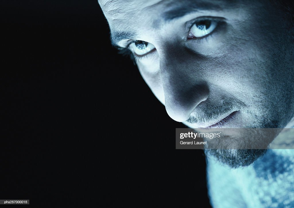 Man looking up, close-up : Stock Photo