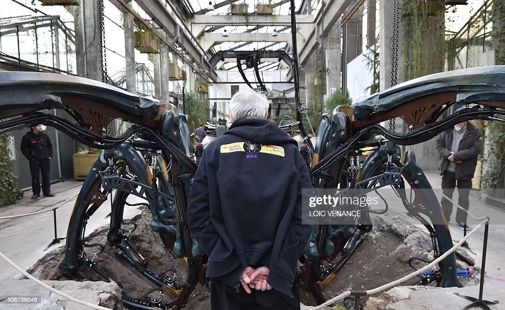 A man looks at a mechanical spider made of wood and steel as it is presented to the public for the first time at 'Les Machines de L'Ile' ('Machines of the Isle of Nantes') in Nantes, western France, on February 6, 2016. / AFP / LOIC VENANCE