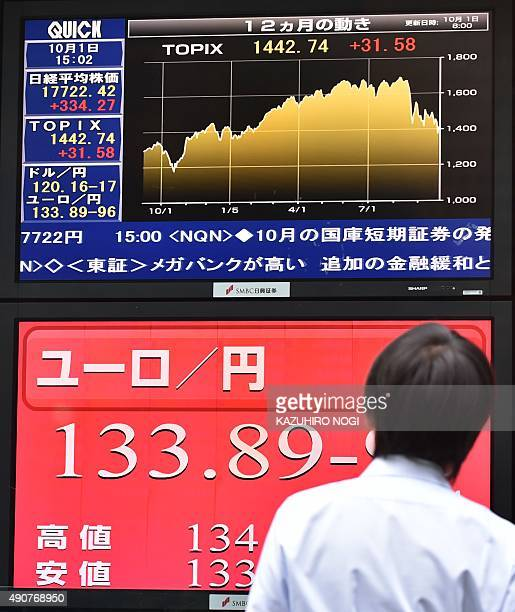 A man looks at a share prices board showing the numbers on the Nikkei 225 at the Tokyo Stock Exchange and a foreign exchange board against euro in...