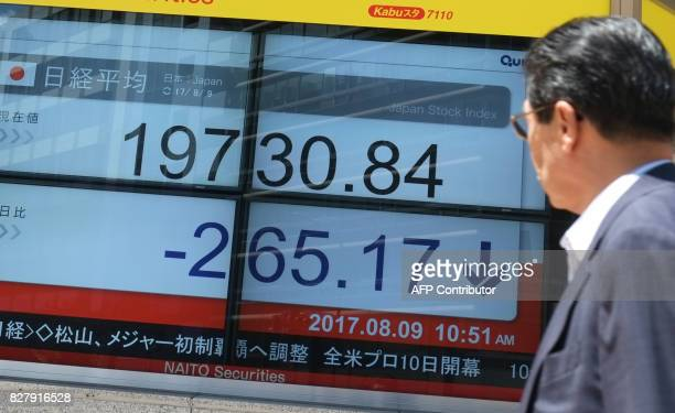 A man looks at a stock quotation board flashing the Nikkei 225 key index of the Tokyo Stock Exchange in front of a securities company in Tokyo on...