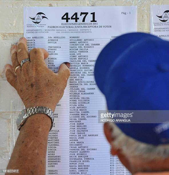 A man looks at an electoral roll at a polling station in Managua during Nicaragua's presidential election on November 6 2011 Polls opened early...